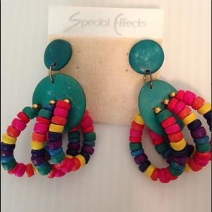 Colorful vintage 80s 90s statement earrings